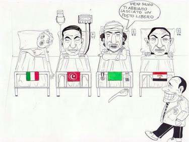 """Chodź, Silvio, mamy dla ciebie wolne miejsce/ karykatura z Il Peggio: """"satyrycznego bloga inspirowanego włoską polityką i całym światem, na który ma ona negatywny wpływ""""."""