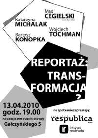 Debata o przyszłości reportażu - impreza została odwołana!!!